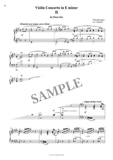 Mendelssohn Violin Concerto Piano solo Sheet music